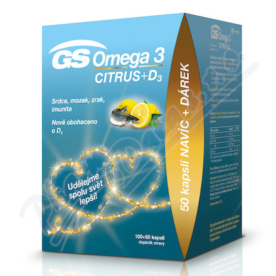GS Omega 3 Cit.+D3 cps.100+50 dárek 2020 ČR/SK